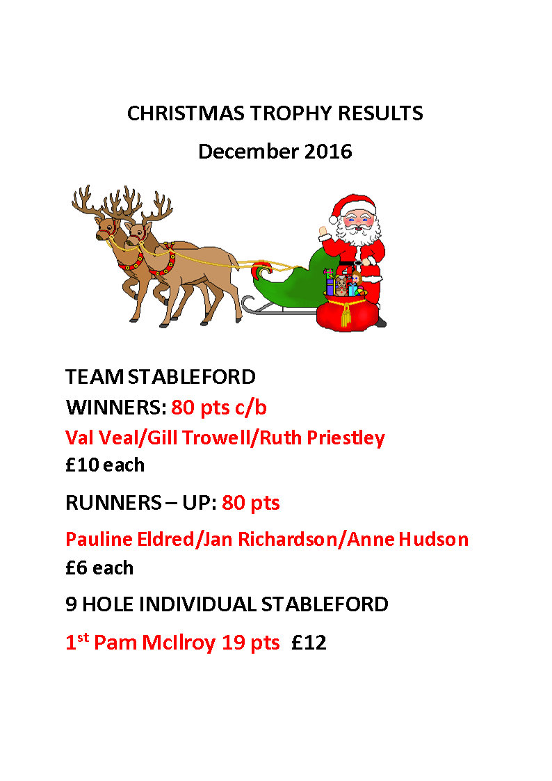 CHRISTMAS TROPHY RESULTS 2016