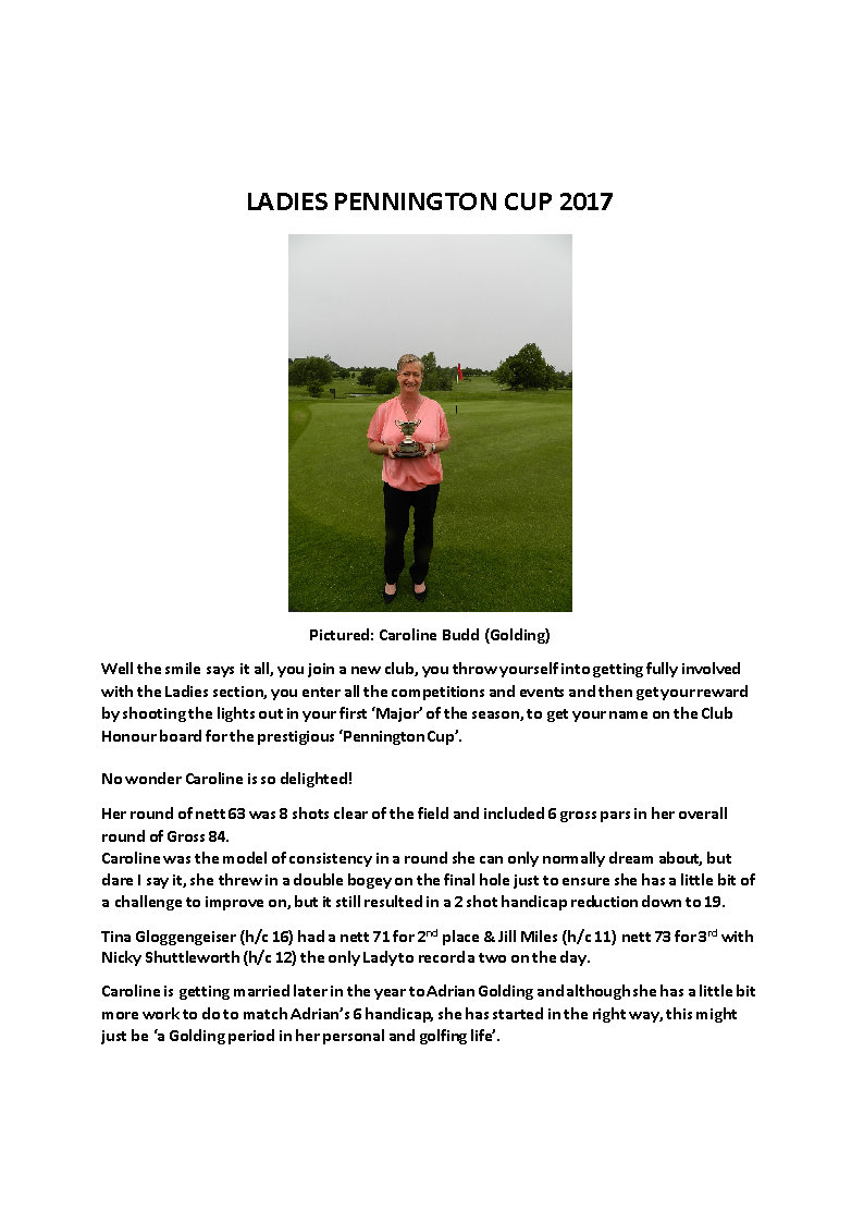 LADIES PENNINGTON CUP 2017