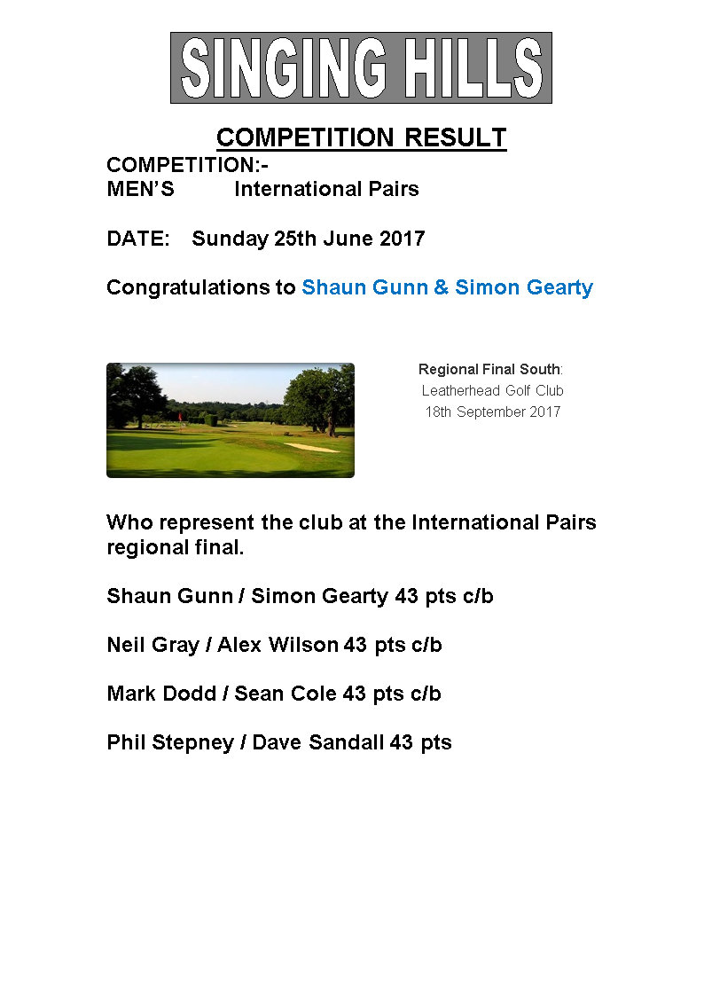 Mens June International Pairs 2017 result