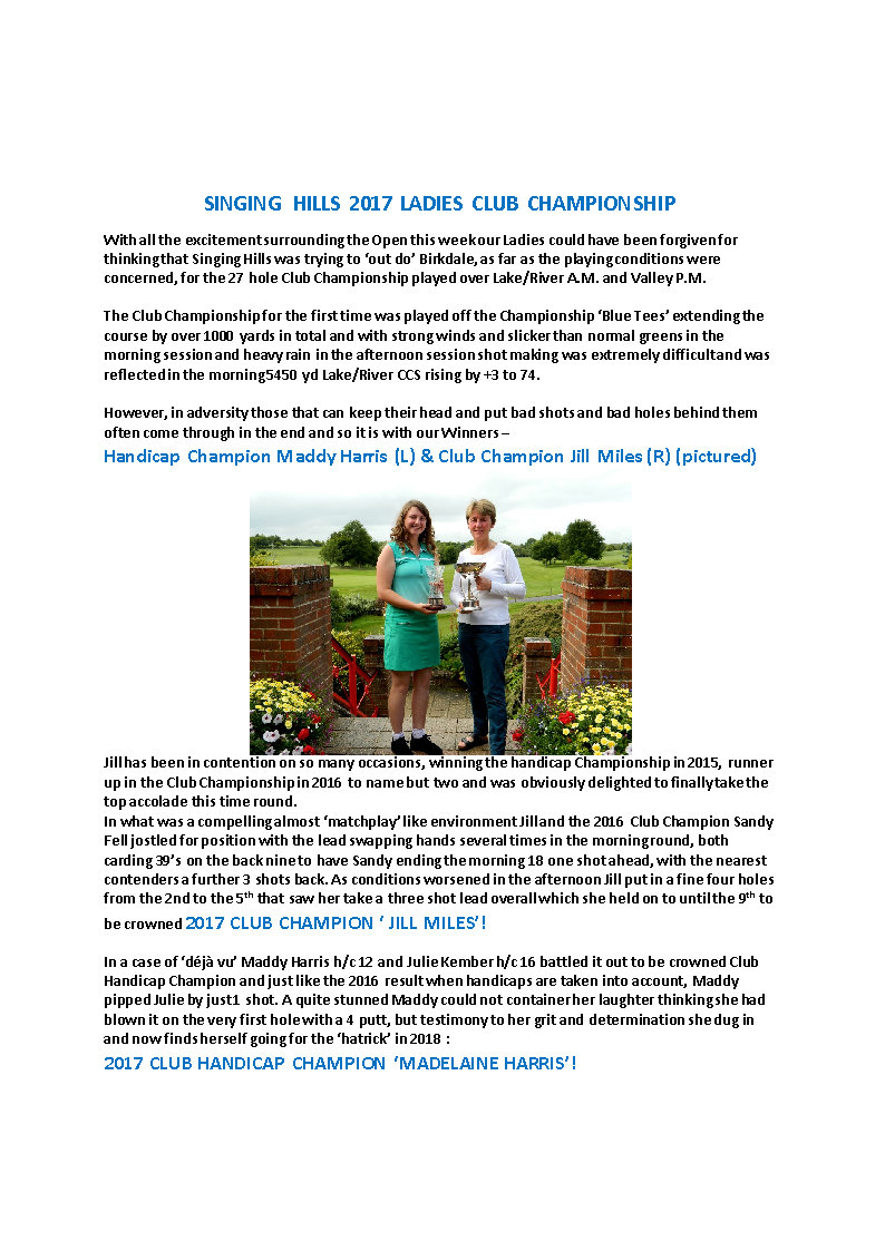 SINGING HILLS 2017 LADIES CLUB CHAMPIONSHIP