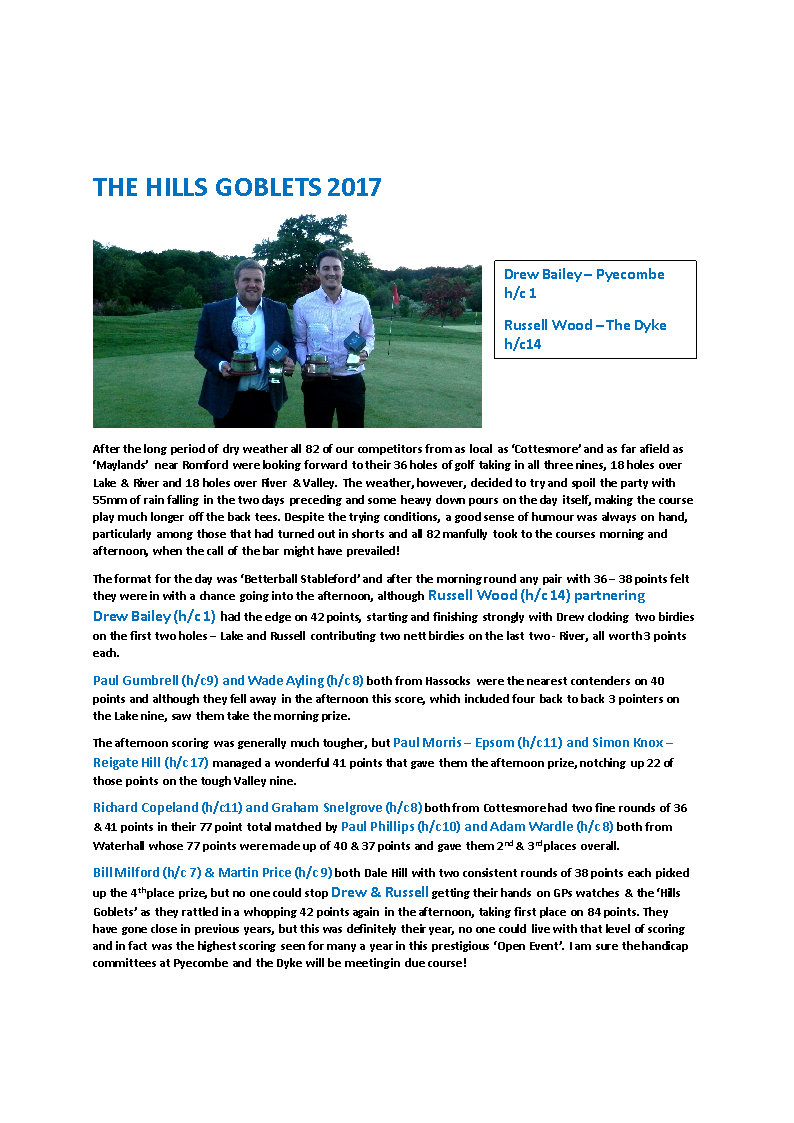 THE HILLS GOBLETS 2017 newsletter