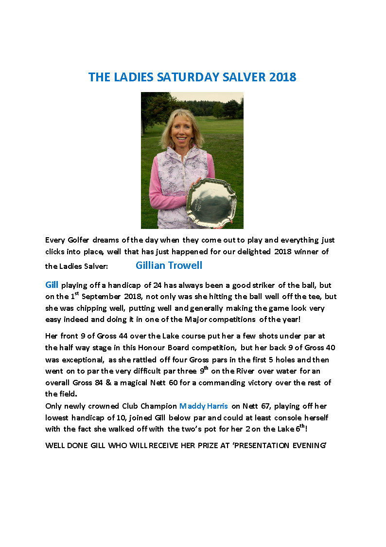 THE LADIES SATURDAY SALVER 2018