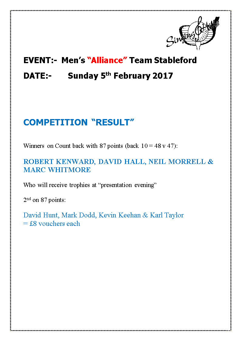 alliance team stableford050217result